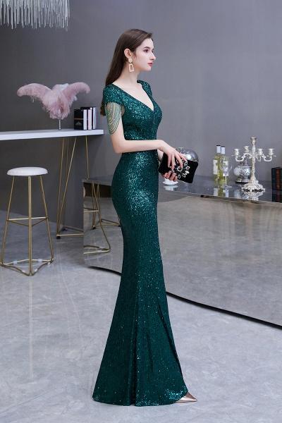 Elegant Cap Sleeve Green Sequins Long Prom Dress_4