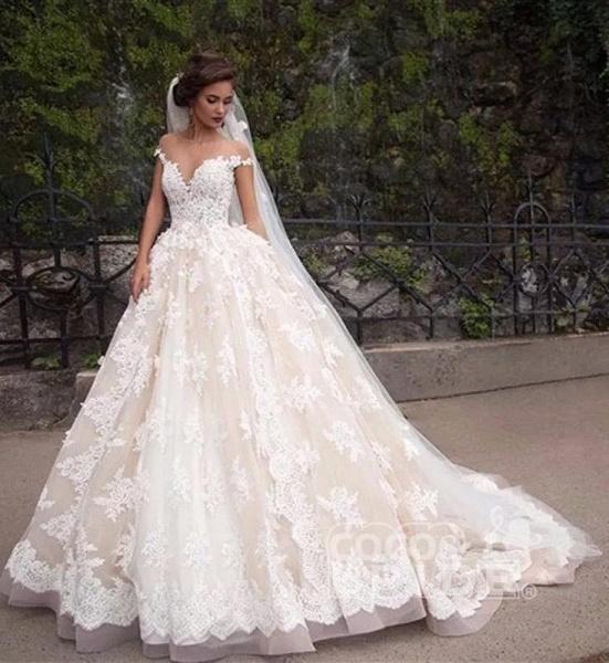 Gorgeous Sheer Neck Cap Sleeves Lace Appliques A Line Wedding Dress_7
