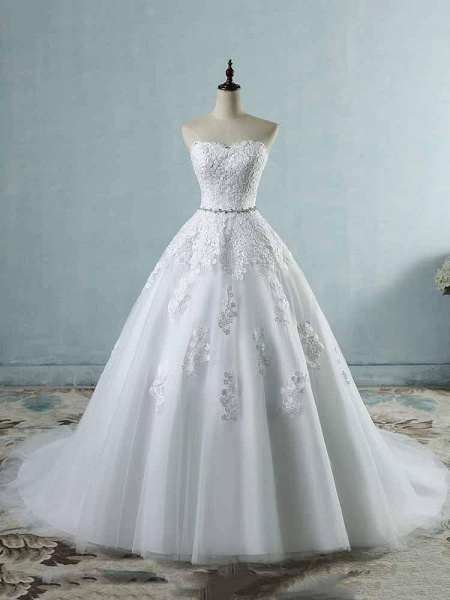 Glamorous Sweetheart Appliques Lace-UP Wedding Dresses_1