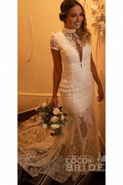 Vintage High Neck Lace Short Sleeve Wedding Dress_2