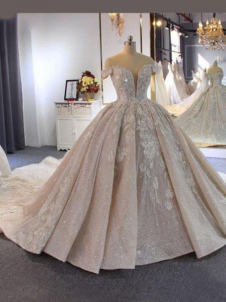 Luxury Beading Off-the-Shoulder With Train Ball Gown Wedding Dresses_1