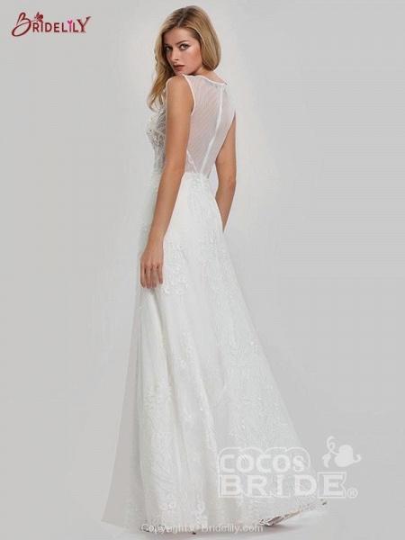 Elegant V-Neck Lace Wedding Dresses_3