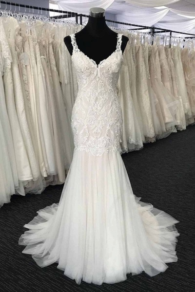 White Tulle V Neck Long Mermaid Lace Wedding Dress_1