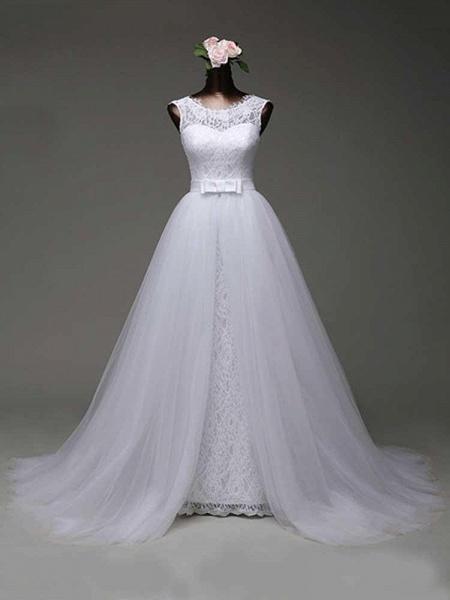 Elegant Bow Lace-Up Tulle Mermaid Wedding Dresses_1