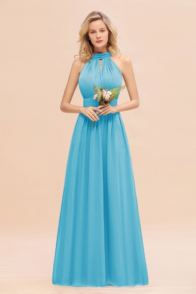 BM0758 Glamorous High-Neck Halter Bridesmaid Affordable Dresses with Ruffle_24
