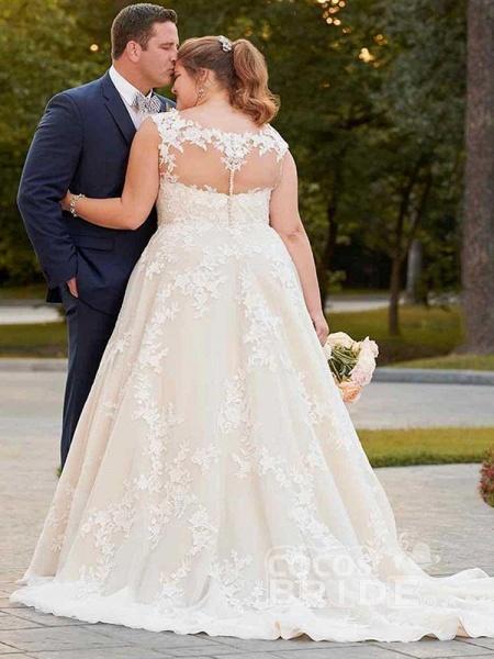 Gorgeous V Neck Appliques Lace Bowknot Tulle Wedding Dresses_2