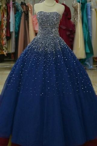 Royal Blue Organza Sweetheart Sequins A-Line Wedding Dress_1