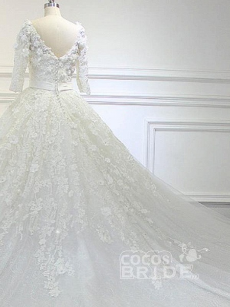 Luxury V Neck Half Sleeves Lace Ball Gown Wedding Dresses_3
