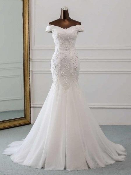 New Style Flower Lace Mermaid Ruffles Wedding Dresses_1