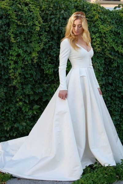 New Elegant Satin V Neck Long Sleeve Wedding Dress_1
