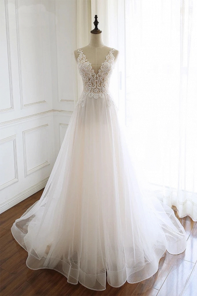 White Tulle Lace Custom Size Long Wedding Dress_1
