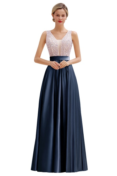 Awesome Open Back Beading Satin A-line Prom Dress_3