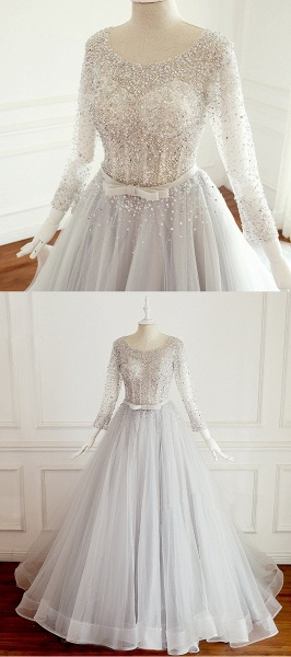 Light Gray Tulle Silver Beaded Long Sleeve Wedding Dress With Bow_4