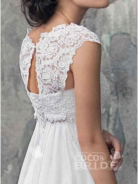 Gorgeous Off-the-Shoulder High Waist A Line Wedding Dresses_3