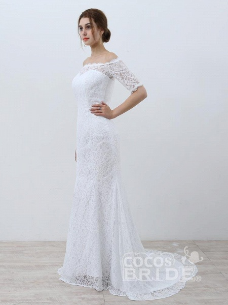 Elegant Half-Sleeves Lace Mermaid Wedding Dresses_3