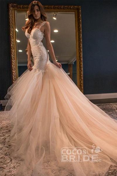 Gorgeous Mermaid Sweetheart Sleeveless Watteau Train Tulle Wedding Dress_2