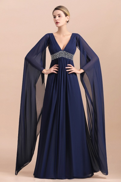 Long Sleeve Ruffles Beads Pearls Chiffon Mother Of the Bride Dress