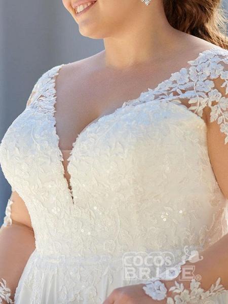 V Neck Appliques Lace Long Sleeve A Line Wedding Dresses_3
