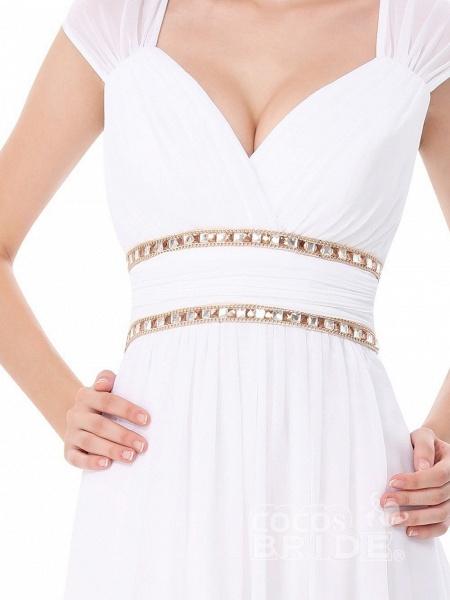 Simple V Neck Cap Sleeve Boho Wedding Dresses_2