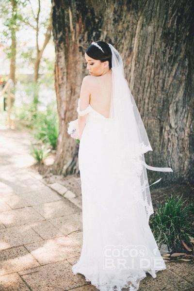 Flowy Off the Shoulder Chiffon Beach Simple Long Pleated Wedding Dress_2