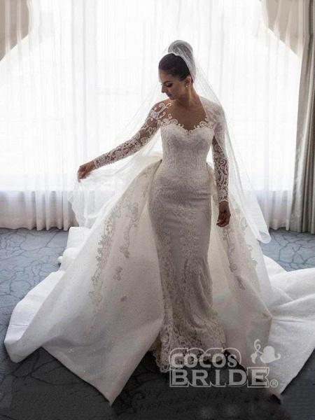 Long Sleeves Lace Mermaid Wedding Dresses_3