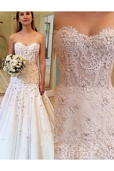 Elegant Sweetheart with Lace Appliques Strapless Wedding Dress_2
