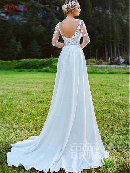 Modest Bateau Long Sleeves Lace Ruffles Wedding Dresses_2