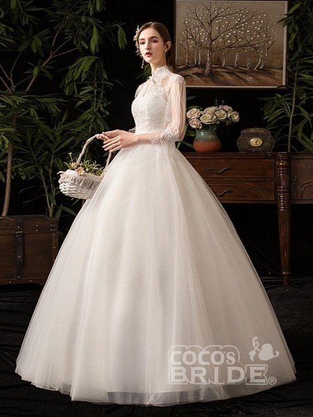 Gorgeous High Collar 3/4 Sleeve Lace-Up Ball Gown Wedding Dresses_3