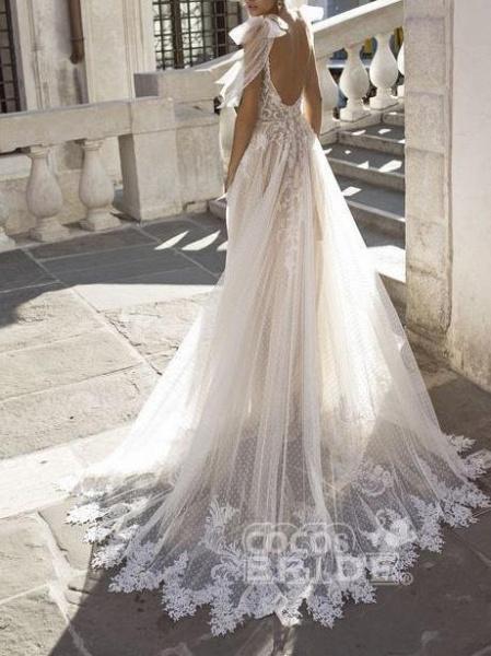 Spaghetti Straps Illusion Lace Backless Boho Wedding Dresses_2