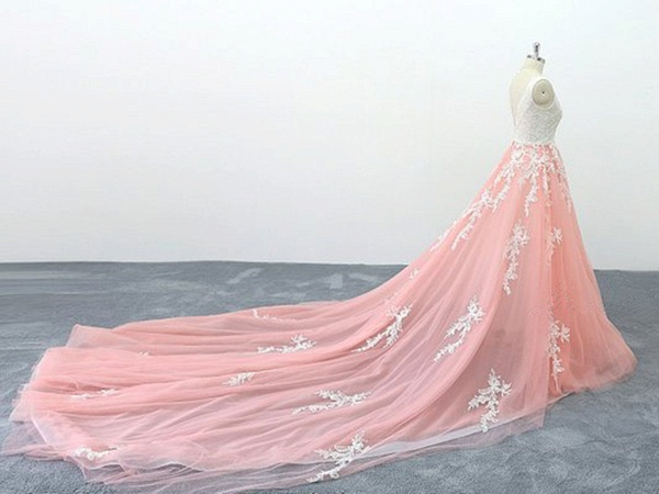 Peach Pink Tulle Cathedral Train Lace Wedding Dress_3