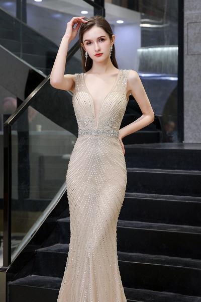 Sexy Mermaid V-neck Silver Long Prom Dress_17