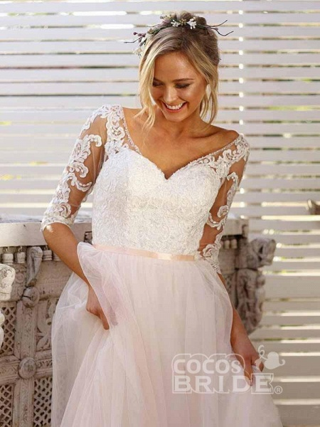 Gorgeous V Neck Long Sleeves Tulle Wedding Dresses_2