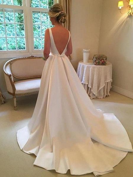 Cheap Bateau Sleeveless A Line Wedding Dress_1