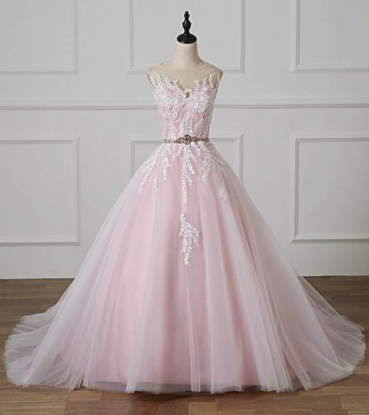 Light Pink Scoop Neck Lace Applique  Beaded Wedding Dress_2