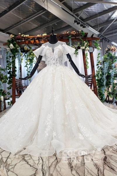 Gorgeous Ball Gown Big Princess Sleeves Wedding Dress_3
