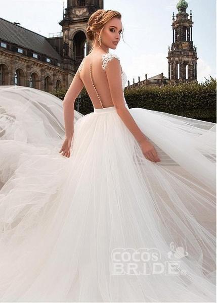 Romantic V Neck Lace Appliques Covered Button A-Line Wedding Dresses_3