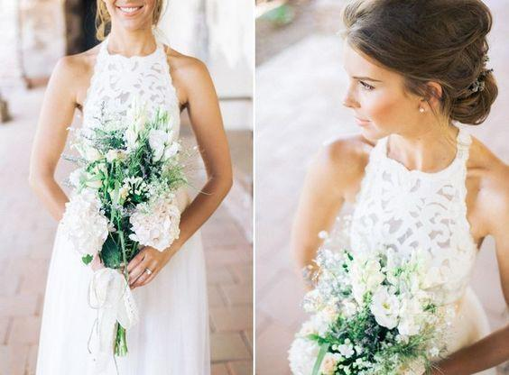Simple Jewel Sleeveless Gown Lace Top Tulle Beach Wedding Dress_4