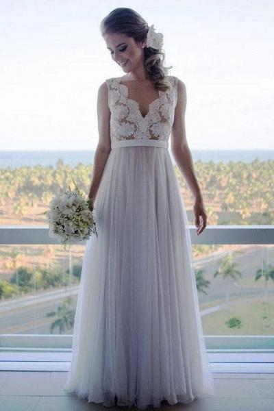 A Line Floor Length V Neck Sleeveless Tulle Beach Wedding Dress with Lace_1