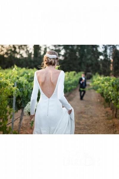 Modest Long Sleeve Sheath Country Wedding Dress_3