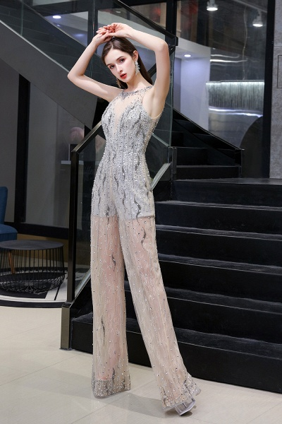 Jewel Sleeveless Tulle Evening Jumpsuit with Sequins_5