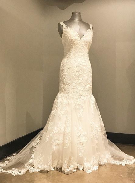 Ivory Lace Long V Neck Mermaid Open Back Wedding Dress_2