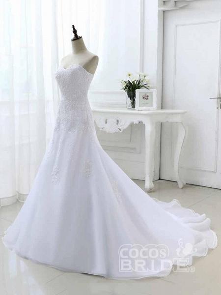Elegant Sweetheart Lace-Up Mermaid A-Line Wedding Dresses_3