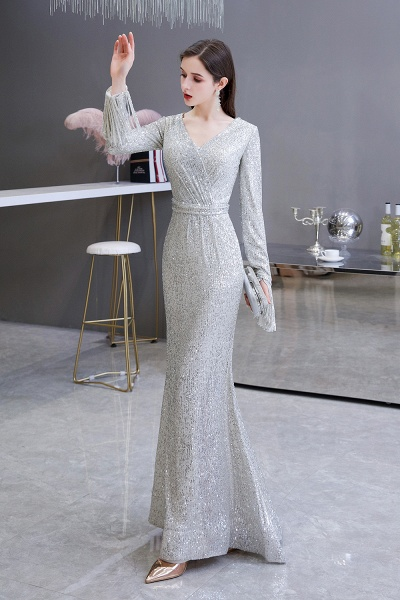 Gorgeous Sequins Long Sleeve V-Neck Mermaid Evening Gowns_4