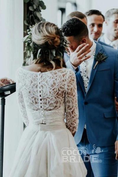 Ivory Chiffon Rustic Cheap 3/4 Sleeves Two Piece Wedding Dress_2