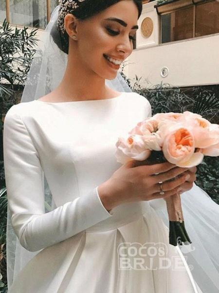 Simple Jewel Long Sleeve A-line Wedding Dresses_5