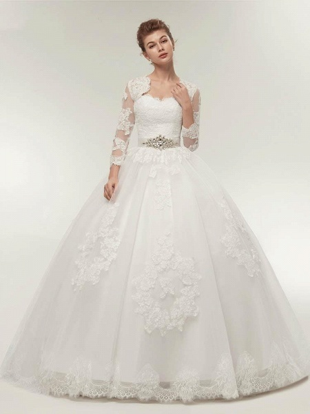Off-The-Shoulder Lace Ball Gown Wedding Dresses