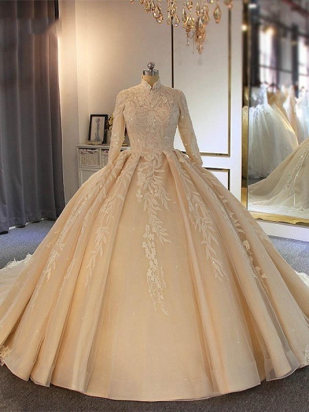 Exquisite High Collar Long Sleeve Lace-Up Ball Gown Wedding Dresses_1