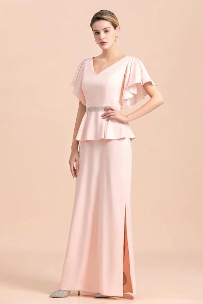 Glamorous V-Neck Beadings Sash Pink Mother of Bride Dresses_5