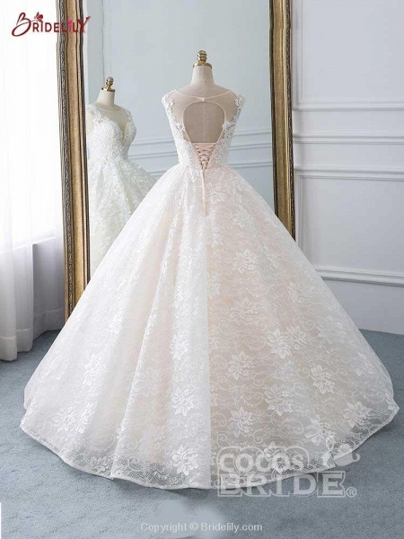 Glamorous Lace Tulle Ball Gown Wedding Dresses_3