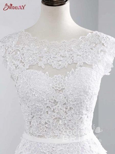 Lace Appliques Covered Button A-Line Wedding Dresses_4
